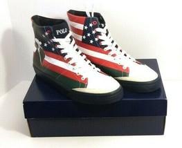 Polo Ralph Lauren Solomon Flag-Print Sneakers Size 11.5 - $78.21