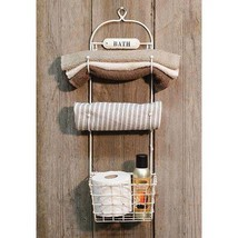 BATH TOWEL RaCK and BaSKeT ~ FARMHOUSE TOWEL RACK ~ FARMHOUSE BASKET BATH - $49.95
