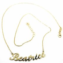 18K YELLOW GOLD NAME NECKLACE, BEATRICE, AVAILABLE ANY NAME, ROLO CHAIN image 3
