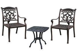 3 piece patio bistro set outdoor Elisabeth end table 2 dining chairs cushions image 1