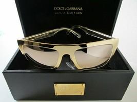 DOLCE & GABBANA 2114 18K GOLD PLATED Metal Mirrored Sunglasses DG2114K L... - $369.33