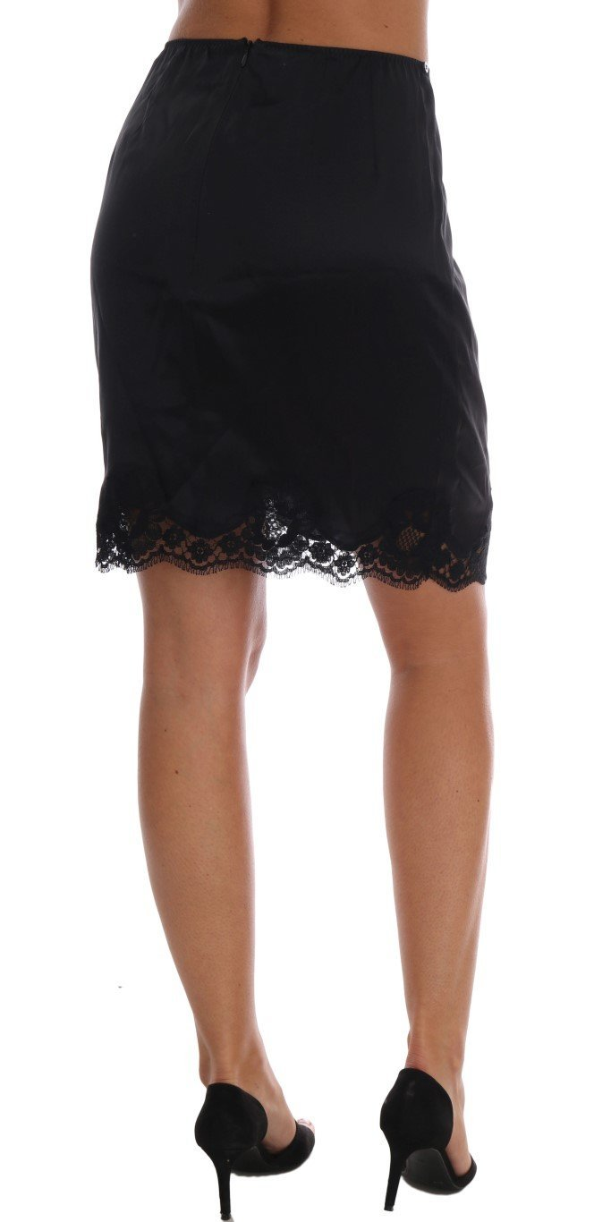Dolce & Gabbana Black Wool Lace Underwear Skirt