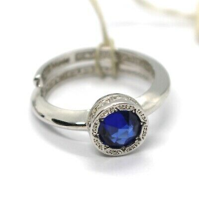 REBECCA BRONZE SOLITAIRE RING, BLUE CUSHION ROUND MINI CRYSTAL, ITALY MADE