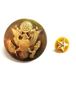 WWII US Army Military Enlisted Men Screw Back Eagle Cap  Badge & Star La... - $17.99