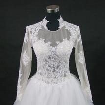 New Stunning Amazing Train Long Sleeve Lace Appliques Satin Wedding Bridal Gown image 7