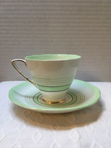 Vintage Royal Stafford Bone China Tea Cup with Saucer Green Striped  - $10.00