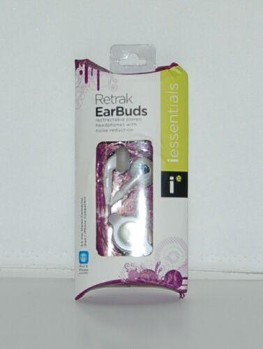 Mizco IPBUD4 White Retractable Stereo headphones Noise Reduction