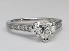 1.18 TCW Heart Shape Diamond Cathedral Engagement Ring Diamond Band - $5,094.84