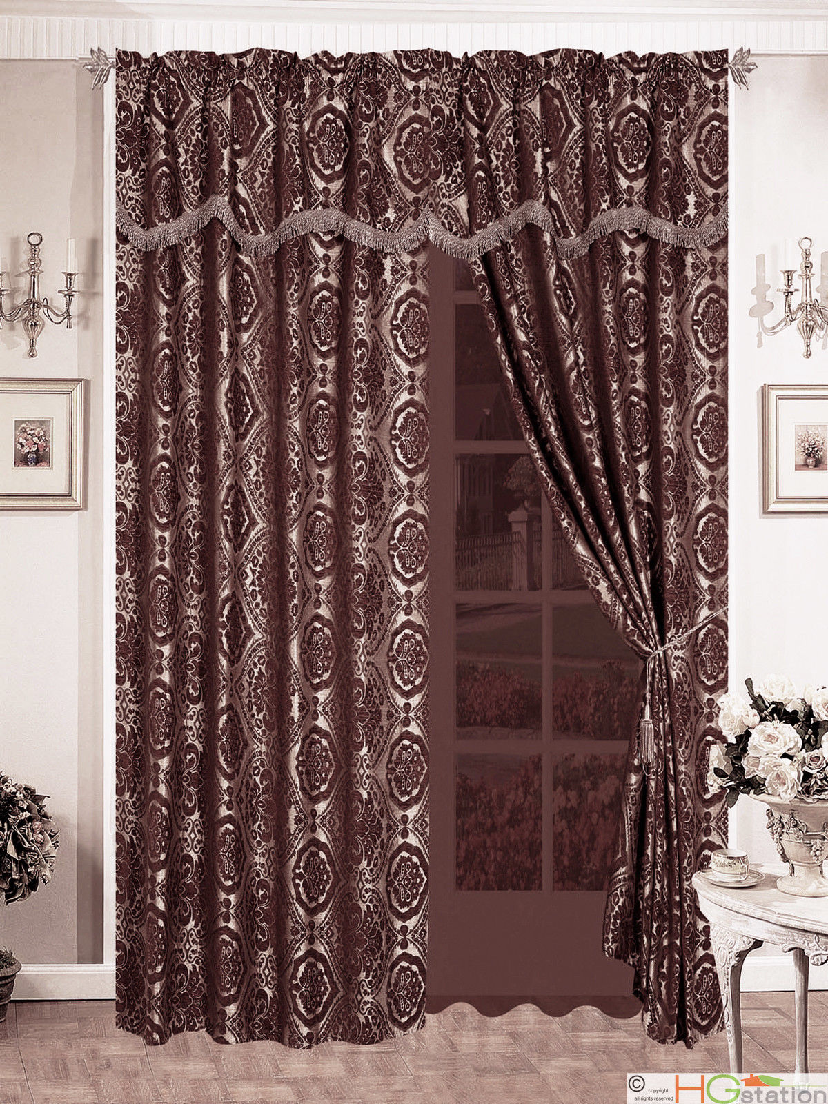 Primary image for 4Pc Quality Chenille Floral Damask Flocking Curtain Set Brown Gold Taupe Valance