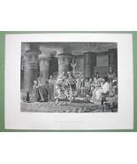 EGYPT Dancers Reception Numbian Ambassador - 120 Years Old Print Engraving - $19.80