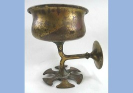 antique BRASS COLORED METAL WALL BATHROOM FIXTURE~CUP and TOOTHBRUSH HOLDER - $64.95
