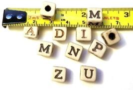 Alphabet Ceramic 7mm Cube Bead, 4mm Hole image 2