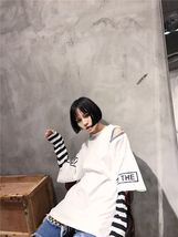 Women  Korean Striped Long Sleeve T Shirt Harajuku Spring Clothing Patch... - $27.89