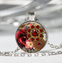 Exotic Flowers Cabochon Necklace (12515) >> Combined Shipping - $3.00