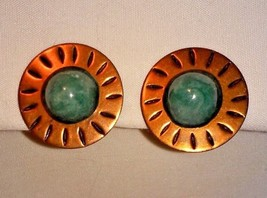Vintage 50's Shades of Greens Faux Turquoise on COPPER Screw Back Earrings - $9.74
