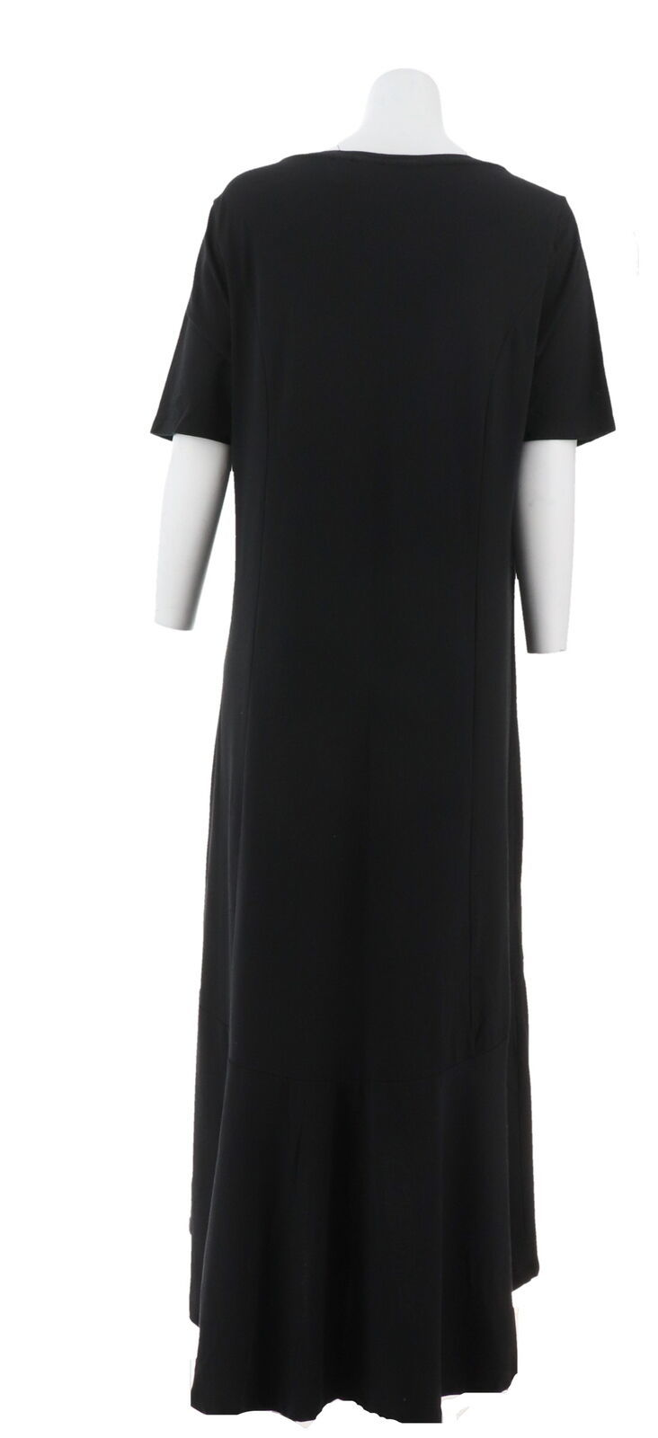 Isaac Mizrahi Elbow Slv Knit Maxi Dress Black 2X NEW A308001