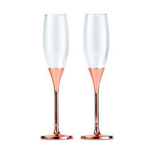 PERSONALIZED Toasting Champagne Flutes Rose Gold Rhinestone Crystal Wedding - $69.98+
