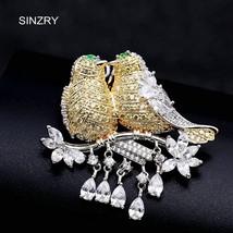 SINZRY elegant New Cubic zirconia micro paved love birds dressing brooch... - $23.49