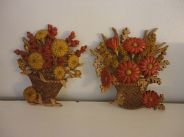 Set of 2 1977 Vintage Home Interiors Flowers in basket Outdoor/Indoor Pl... - $22.76