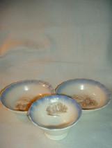 Depression Glass MacBeth-Evans Chinex Castle Decal Sherbet + 2 Bowls - $14.99