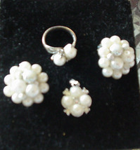 Vintage Jewelry SARAH COVENTRY Pendant, Pearl Ring & 2 Pair Clip On Earrings - $39.99