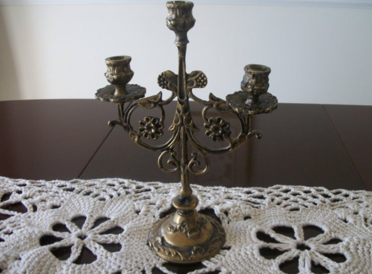 Vintage Brass French Candelabra Shabby Chic Candle Holders ...