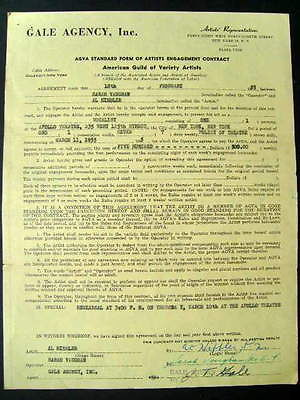 SARAH VAUGHAN ORIGINAL AUTOGRAPHED 1955 APOLLO CONTRACT