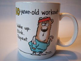 """Vintage Hallmark """"50 Year Old Workout Wake Up, Blink, Repeat"""" Mug Cup - $19.79"""