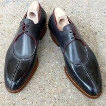 Men Tan Sole Black Tone Vintage Lace Up Premium Leather Handmade Oxford Shoes - $139.99+