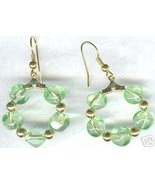 """1"""" Green Nugget Glass Hoop Earrings - $7.99"""