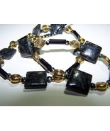Jasper picasso 23 1/2 inch black agate stone gold necklace - $14.99