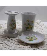 Vintage Yellow Flower Vanity Set, Soap Dish, Tumbler, Toothbrush Holder - $15.00