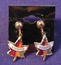 Vintage Gold Tone & Enamel Screw Back Earrings Dangle Maple Leaves w/ WINNIPEG - $10.65