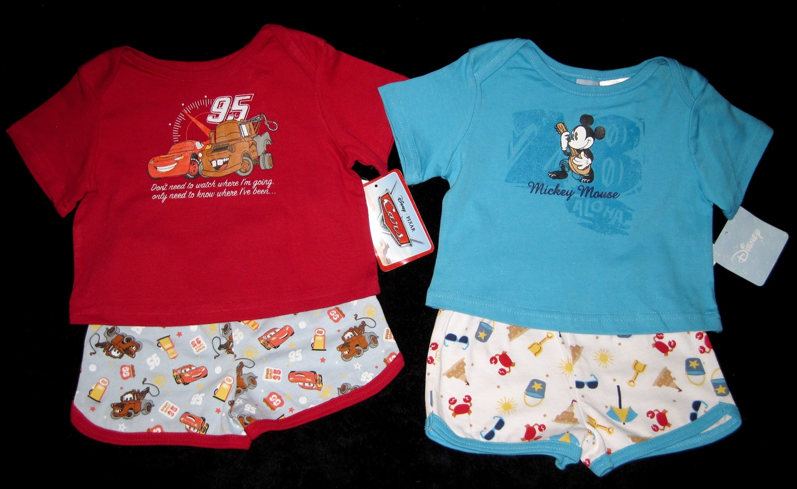BOYS 3-6 MONTHS  Disney Mickey Mouse Aloha & Disney Pixar Cars Red TWO PLAYSETS