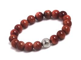 Gold sandstones energy beads bracelet men woman yoga prayer silver longevity thumb200