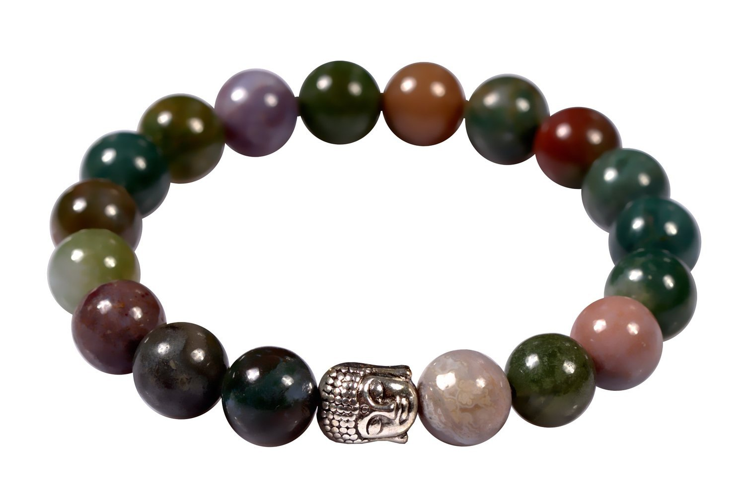 Primary image for Indian Agate Stone Energy Bead Bracelet Men Woman Yoga Prayer Silver Buddha Head