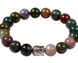 Indian agate stone energy bead bracelet men woman yoga prayer silver buddha head thumb155 crop