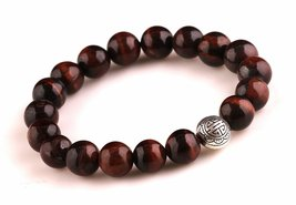Red Tiger Eye Stone Energy Beads Bracelet Men Woman Yoga Prayer Silver L... - $19.95