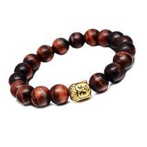 Red Tiger Eye Stones Beads Bracelet Men Woman Yoga Prayer Golden Buddha ... - $19.95
