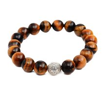 Tiger's Eye Stone Energy Beads Bracelet Men Woman Yoga Prayer Silver Lon... - $19.95