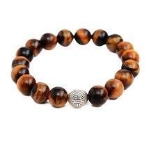 Tiger's Eye Stone Energy Beads Bracelet Men Woman Yoga Prayer Silver Longevity - $19.95