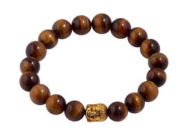 Tiger's Eye Energy Stones Bead Bracelet Men Woman Yoga Prayer Golden Bud... - $19.95