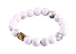 White Turquoise Stones Beads Bracelet Men Woman Yoga Prayer Golden Buddh... - $19.95