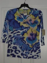 ENERGE KNIT TOP SHIRT SIZE PS BLUES PRINT BEADED NWT - $15.99