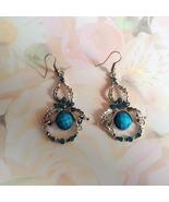 Tibetian Silver Chandelier Earrings Blue Facete... - $16.00
