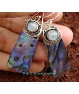 925 Silver Paua Shell Earrings w/ Gem ER-610-DG - $22.50