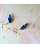Blue Zipper Novelty Gold Plate Fishhook Earrings  - $3.00