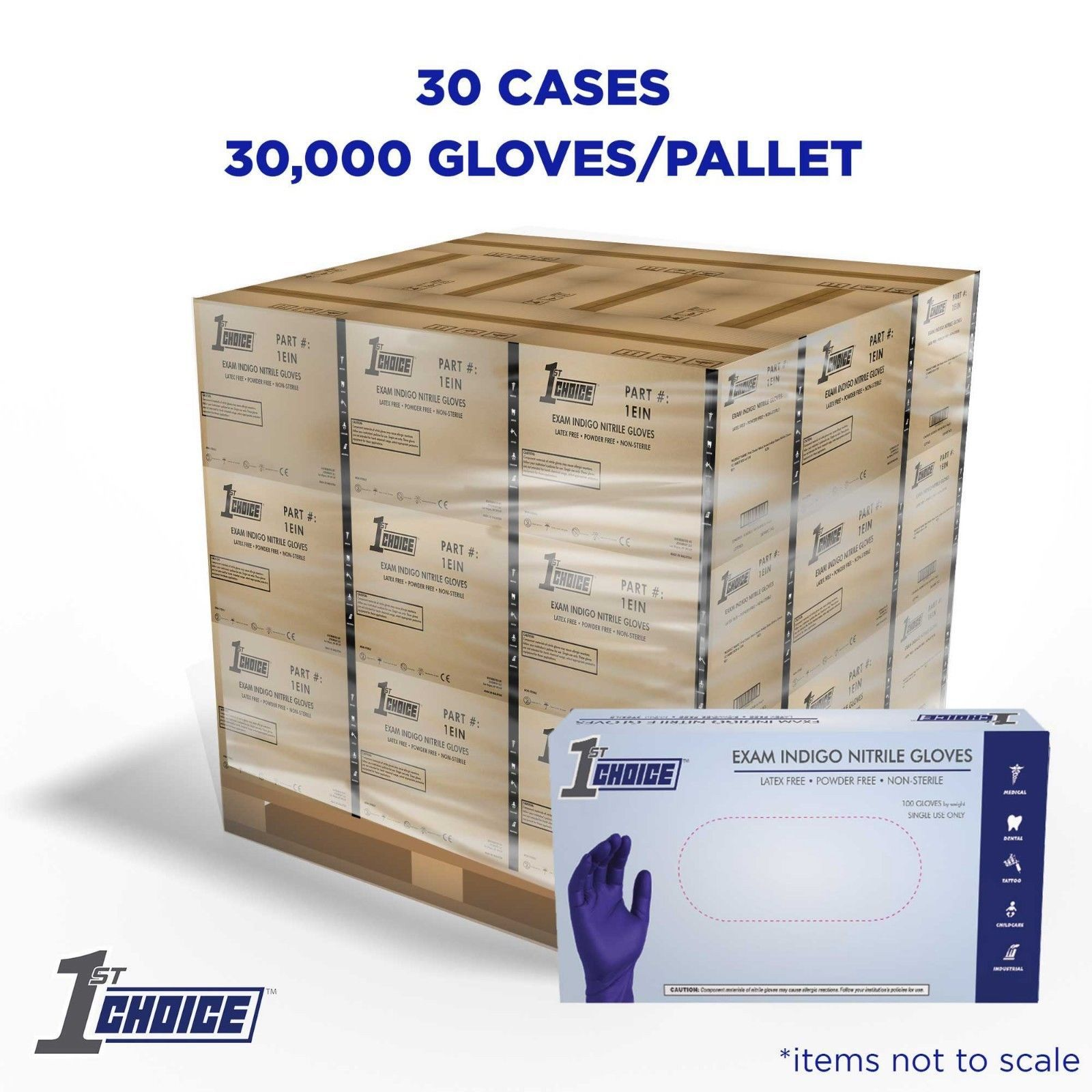Wholesale Pallet Of 1st Choice Indigo Nitrile Disposable
