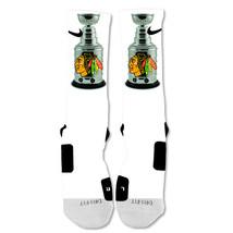 Nike Elite socks custom Chicago Blackhawks Stanley Cup Champions White - $24.99