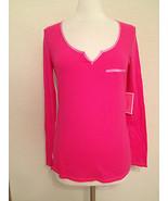 Juicy Couture Henley Shirt 9JMS1431 Dragon fruit Medium - $18.50